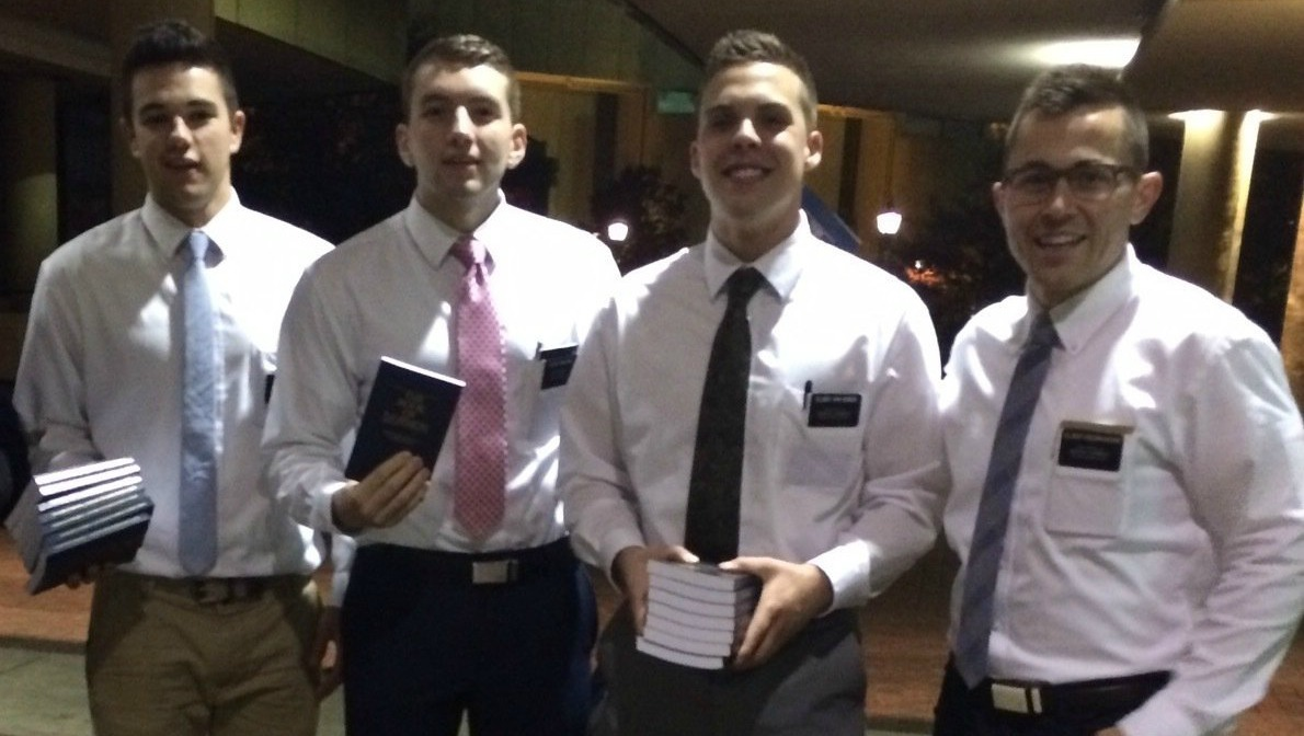 Missionaries Pass Out 2400 Copies of B.O.M. Outside The Book Of Mormon Musical