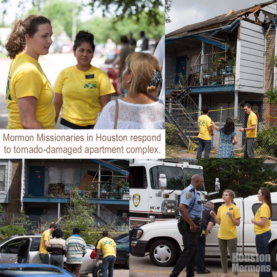LDS missionaries help translate and pack after tornado in Houston Texas