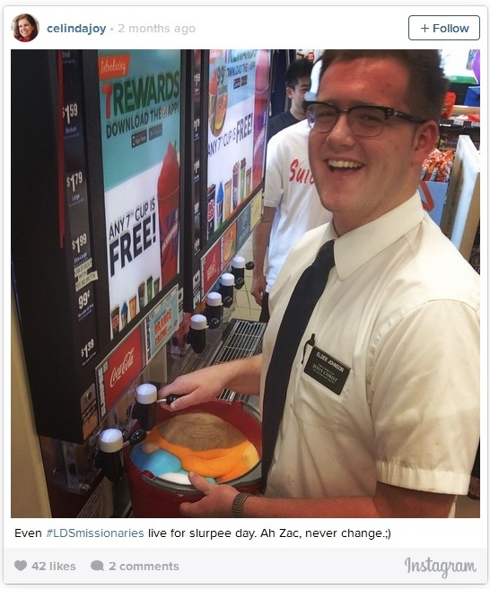Fun Mormon Mission pics - slurpee brainfreeze