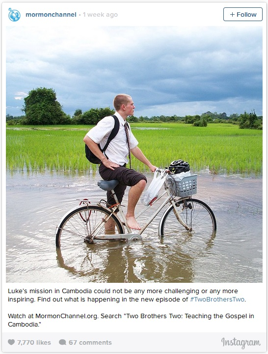 LDS missionary on bike