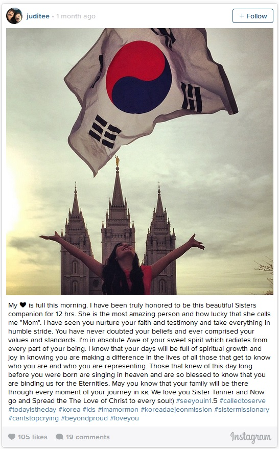 Salt Lake Temple Sister Missionary and Korean Flag