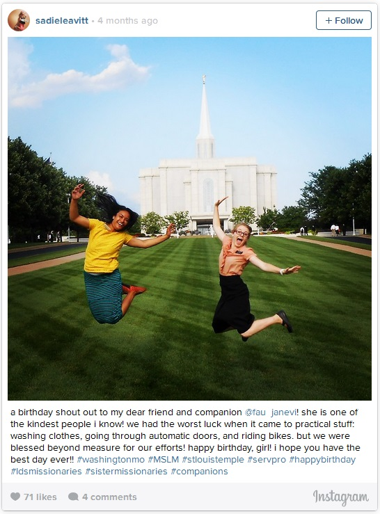 LDS sister missionaries jump for joy