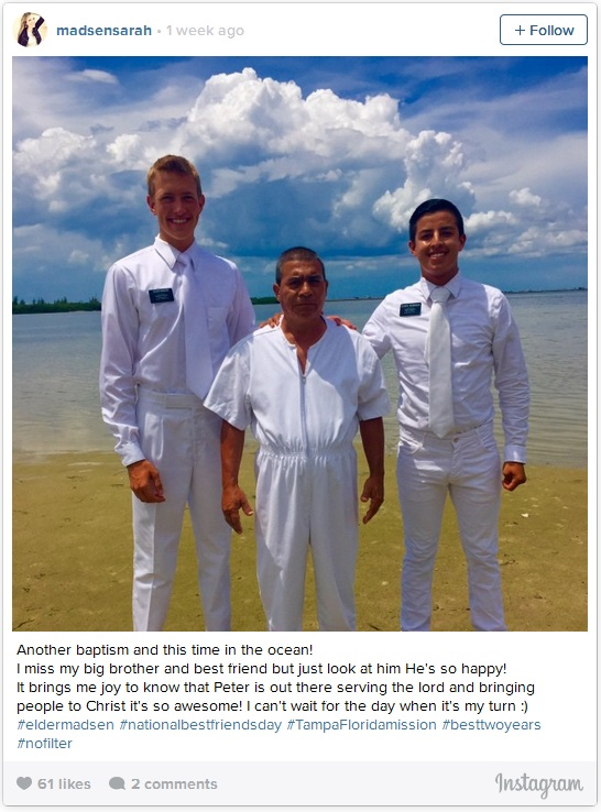 LDS missionaries at a baptism