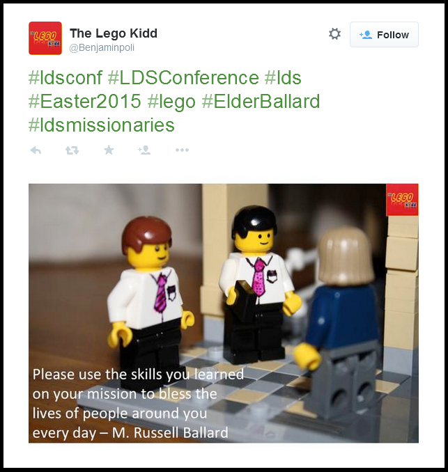 Lego missionaries on Twitter