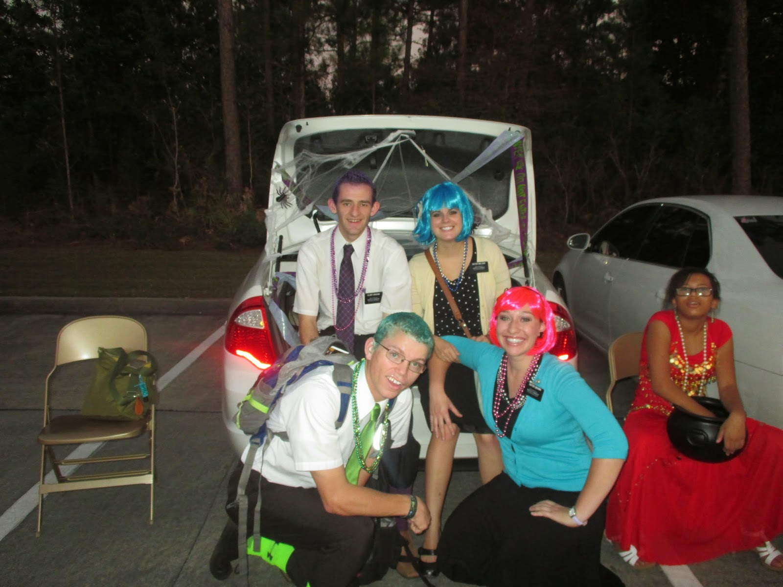"""For Halloween, our ward did a trunk or treat and all us missionaries made our hair a crazy color! It was pretty exciting."" -via marissainmississippi.blogspot.com"
