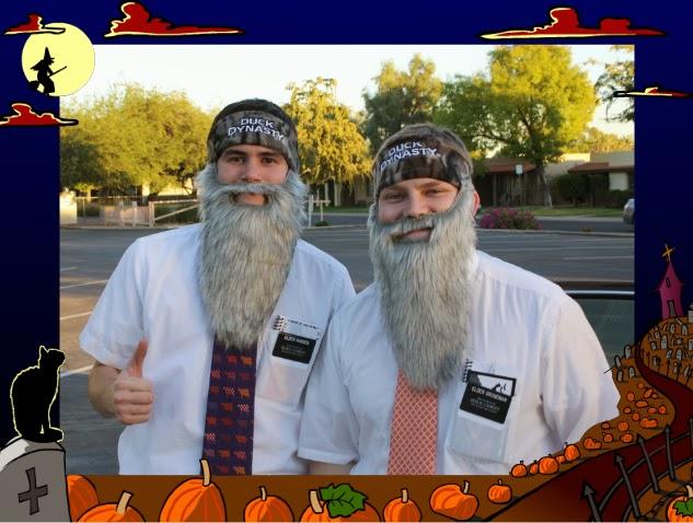 """Elder Hansen and Elder Groneman dressed up as their favorite Rednecks."" via spencergroneman.blogspot.com"