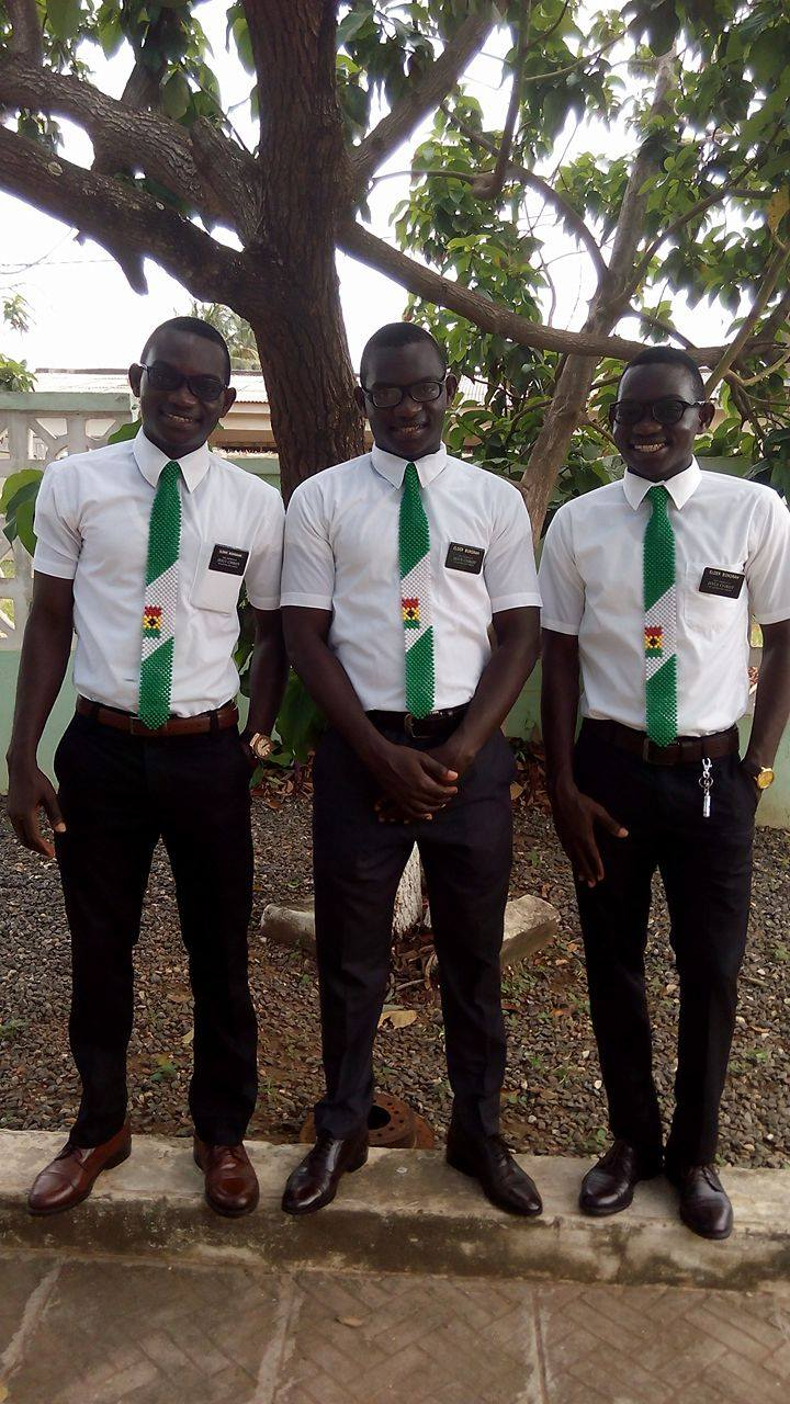 From left to right Dicken, Dickson and Dick Bonsrah Ghanaian triplets who just returned from serving missions in Nigeria