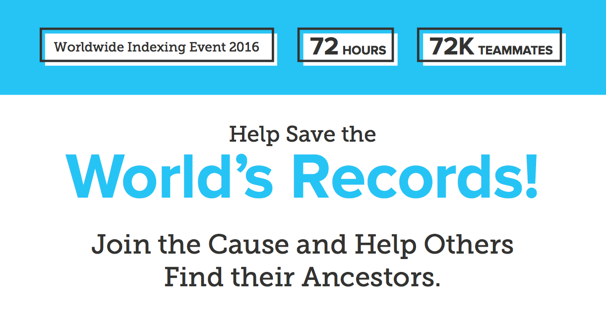 FamilySearch to Sponsor World-record Indexing Event – Be a Part of the Record!